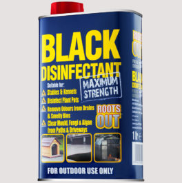 black disinfectant