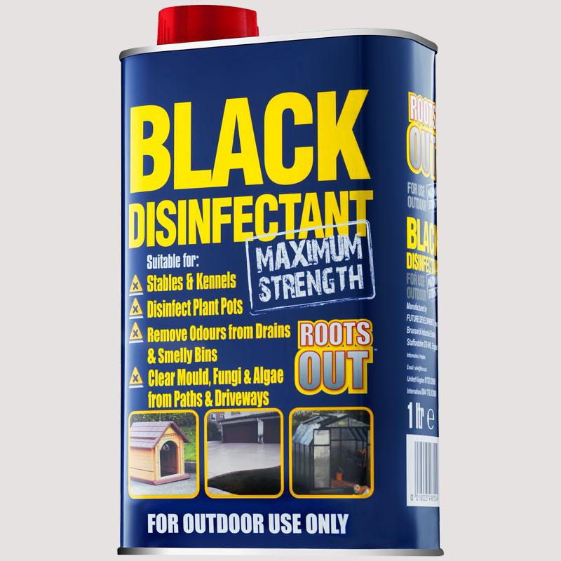 black disinfectant